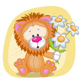 Lion with flowers Royalty Free Stock Photos