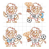 Lion Footballer Doodle Part 1 illustration de vecteur
