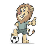 Lion footballer showing thumb up Royalty Free Stock Photography