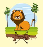 Lion in forest cute cartoon. Icon vector illustration graphic design Stock Image