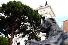 Lion fountain. Near steps to church Santa Maria in Aracoeli, Rome Stock Photo
