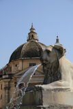 Lion fountain Piazza del Popolo, Italy Royalty Free Stock Image