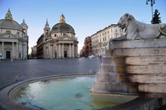 Lion fountain in Piazza del Popolo Royalty Free Stock Photos