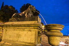Lion fountain in Rome. Lion fountain at night in Rome Royalty Free Stock Photos