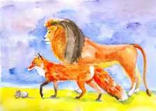 Lion, fox and mouse royalty free stock image