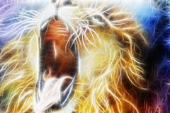 Lion fractal  abstract cosmical background Royalty Free Stock Photos