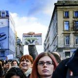 LION, FRANCJA - 11 2015 STYCZEŃ: Anty terroryzmu protest Zdjęcia Stock