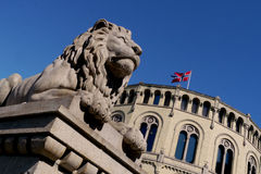 Lion in front of oslo parliament Stock Images