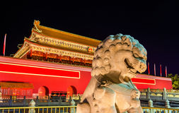 Lion in front of the Tiananmen Gate in Beijing Royalty Free Stock Photos