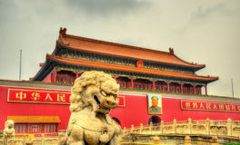 Lion in front of the Tiananmen Gate in Beijing, China Royalty Free Stock Image