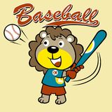 Little baseball player funny cartoon stock illustration
