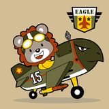 Happy pilot jet cartoon with air force logo. Lion the funny pilot jet cartoon. Vector cartoon illustration, no mesh, vector on eps 10 Royalty Free Stock Images