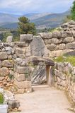 The Lion Gate. Mycenae is an archaeological site in Greece.The palace is located on a hill. In the second millennium BC Mycenae was one of the major centres of royalty free stock photography