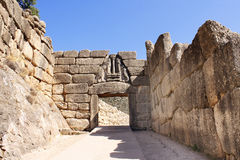 Lion Gate, Archaeological Site of Mycenae, Greece Stock Image