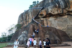 The Lion Gate and climbing stretch. Sigiriya rock. Sri Lanka. Sigiriya is an ancient rock fortress located in the northern Matale District near the town of Royalty Free Stock Images
