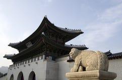 Lion and gate at Gyeongbokgung Palace Seoul Korea stock image