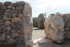 Lion Gate i Hattusa, Turkiet Royaltyfria Foton
