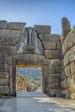 Lion Gate i Mycenae, Grekland Royaltyfri Fotografi