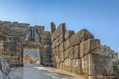 Lion Gate i Mycenae, Grekland Arkivfoto