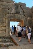 Lion Gate i Mycenae, Grekland fotografering för bildbyråer