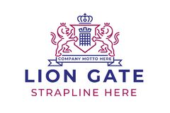 Lion Gate Logo. Logo consisting of heraldic crest with two lions, a shield and portcullis suitable for a security or insurance company stock illustration