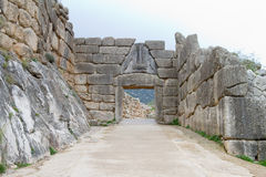 The Lion Gate of Mycenae. The famous Lion Gate in the ancient site of Mycenae, Greece Royalty Free Stock Photos