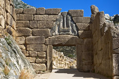 Lion Gate, Mycenae Arkivbild