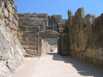 Lion Gate at Mycenae. The old stone gate with a sculpture of lions Royalty Free Stock Image