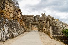 Lion Gate in Mycenae, Argolidam Griekenland Reis Royalty-vrije Stock Foto's