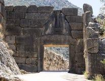 Lion Gate Mycenae en Grecia imágenes de archivo libres de regalías