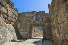 Lion Gate at Mycenae, Greece. Archaeology background Stock Image