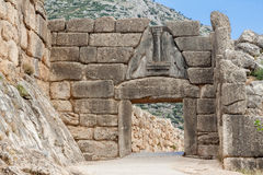 Lion Gate Mycenae Greece. The Lion Gate in the archaeological site of Mycenae, Greece Stock Photo