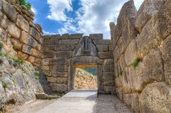 Lion Gate, Mycenae, Griechenland lizenzfreie stockfotos