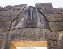 Lion Gate Mycenae i Grekland royaltyfri bild