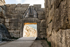The Lion gate in Mykines, Greece Royalty Free Stock Photography
