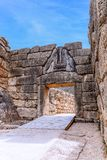 Lion Gate på Mycenae, Argolidam Grekland Resor Royaltyfria Foton