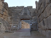 Lion Gate in ruins of Mycenae, Greece Royalty Free Stock Photos