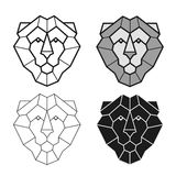 Lion geometric head vector set Stock Image