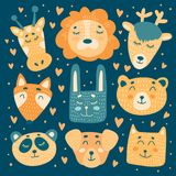 Lion, giraffe, deer, fox, bear, rabbit, panda, cat and dog characters in childish style. Cute animals vector illustration. Orange, beige and blue design for royalty free illustration