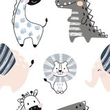 Lion, giraffe, elephant, crocodile baby seamless pattern. Scandinavian cute print. stock illustration