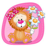 Lion girl with flowers Royalty Free Stock Image