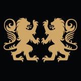 Lion Gold Logo Template heráldico Imagen de archivo libre de regalías