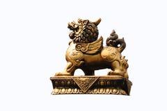 Lion gold stucco. A Lion gold stucco on white Stock Photos