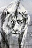 Lion Graffiti Art, London. Lion painting, graffiti in Brick Lane, London Royalty Free Stock Image