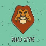 Lion graphic for print. Design clothes, t-shirts, logo. Lion. Wild style. Graphic for print. Design clothes, t-shirts, logo. Vintage background. Vector Royalty Free Stock Image