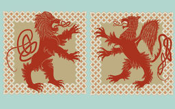 Lion and griffin Stock Images