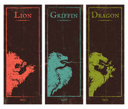 Lion, griffin and dragon. Vector set vintage posters with lion, griffin and dragon Royalty Free Stock Image