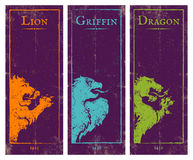 Lion, griffin and dragon. Vector set vintage posters with lion, griffin and dragon. Game banners with animals Stock Photo