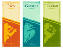 Lion, griffin and dragon. Vector set vintage posters with lion, griffin and dragon. Vintage colorful banners for games Stock Images