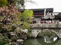 Lion Grove Garden, um jardim chinês clássico e parte do patrimônio mundial do Unesco em Suzhou imagem de stock